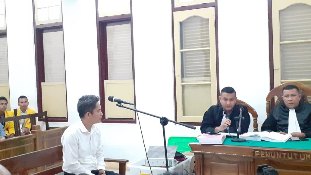 saksi Syaiful Bachri Hutasuhut saat memberikan keterangan